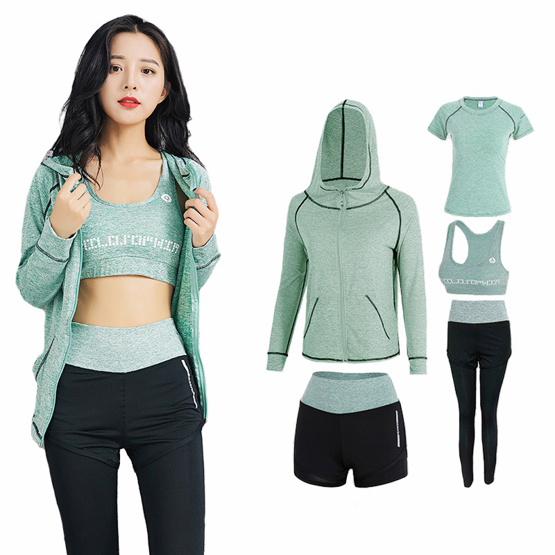 Ladies 5 Items Yoga Set Feminine Health Go well with Fitness center Exercise Clothes Shirt+Pants Breathable Yoga Leggings Sport Go well with Yoga Units, Low-cost Yoga Units, Ladies 5...