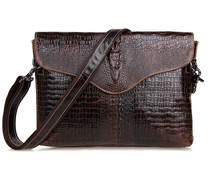 Vintage Crocodile / Alligator Pattern Genuine Leather Small Men Messenger Bags Cowhide Men's Bag For Ipad #MD-J7267