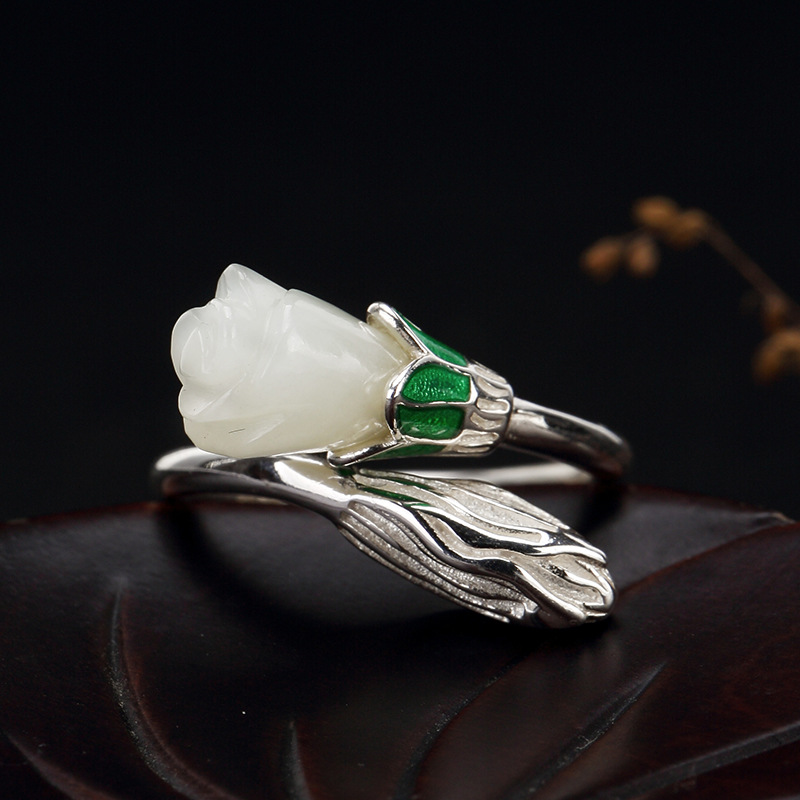 2018 Hot Sale S925 Pure Silver Inlay Hetian Jade White Jade Ring Ring Of Cloisonne Roses Female High-grade Openings new pure au750 rose gold love ring lucky cute letter ring 1 13 1 23g hot sale