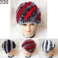 01bc045181941 Winter Womens Rex Rabbit Fur Hats with Stripe Design Lady Winter Warm Rex  Rabbit Fur Caps