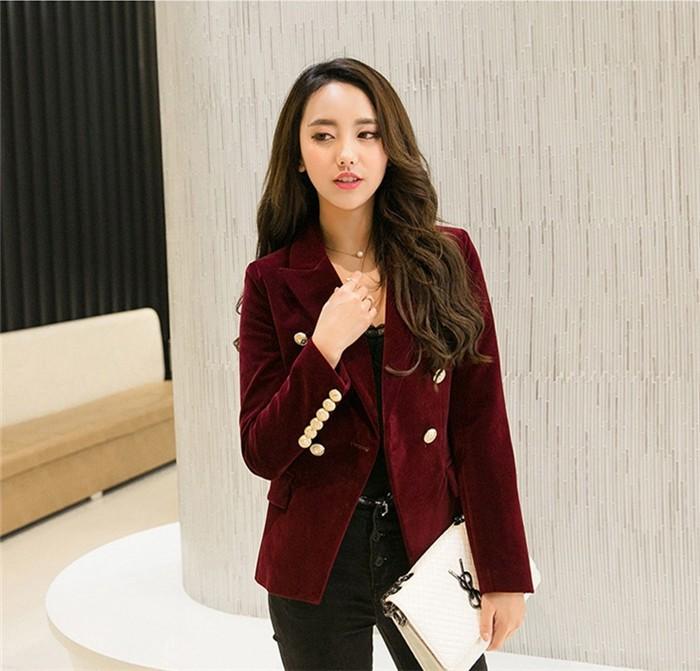 2016 New Spring Fashion Women Midnight Navy Slim Velvet Blazer Jacket Double Breasted simple Lady Blazers  (5)