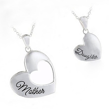 Fashion font b Heart b font Neckalces Jewelry Stainless Steel Mother and Daughter Splicing Double font