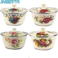 Jinserta enamel bowl dish 두꺼운 대용량 빈티지 커버 냄비와 주방 냉장고 보관 음식에 적합