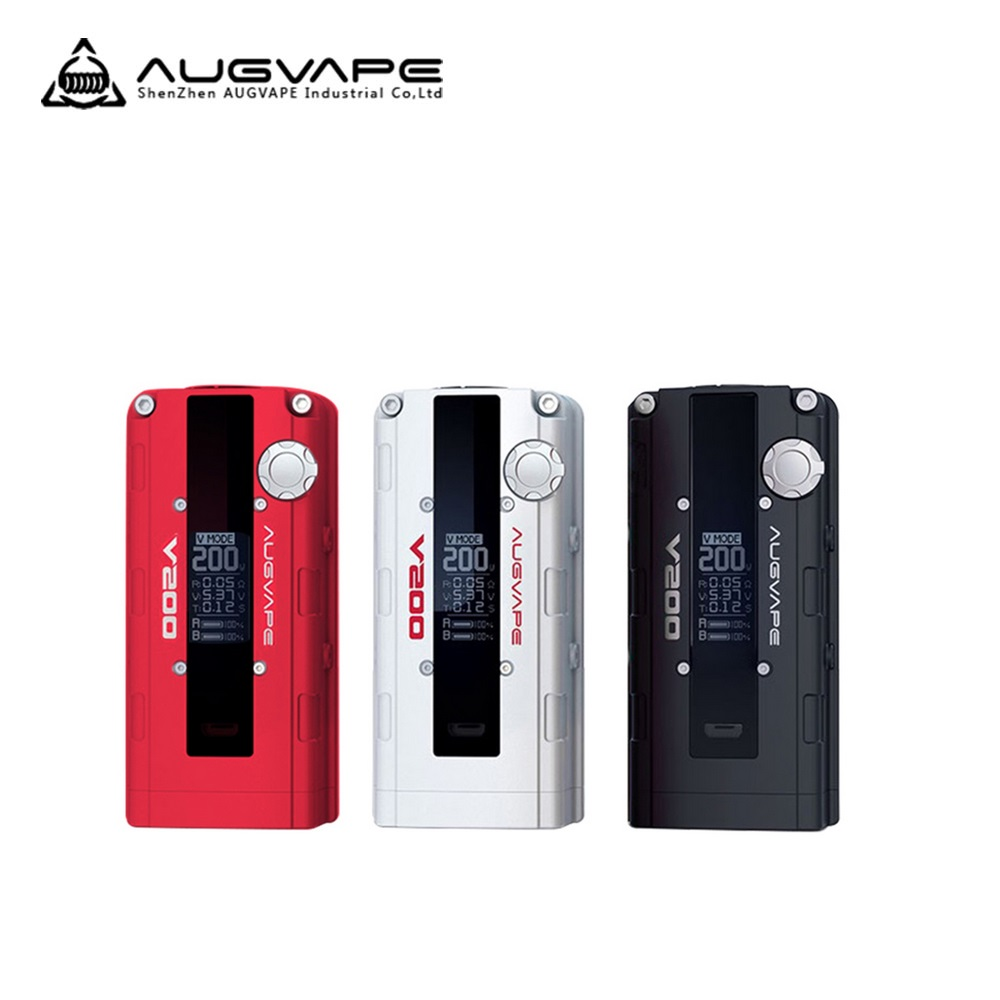 Original AUGVAPE V200 200W VW Box MOD Max 200W Output Huge Power No 18650 Battery Electronic Cigarette Box Mod AUGVAPE Vs GEN3 original augvape v200 200w vw box mod 200w no 18650 battery with oled display electronic cigarette vaping inspired by car engine