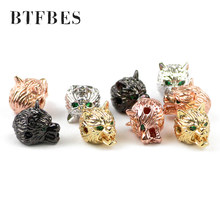 BTFBES Free shipment 4pcs Green eyed Wolf head charm Men's bracelet making DIY Jewelry Copper beads Metal discovery create Beads(China)