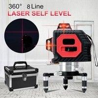 Новые 8 линейных 3d лазерной 638nm Авто наливные 360 по горизонтали вертикальный крест красная линия Indoor/Открытый кросс лазерный уровень Инструм