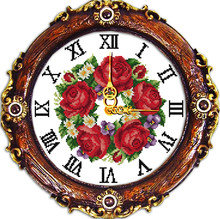 A garland of roses cross stitch kit 14ct 11ct count print canvas wall clock stitching embroidery DIY handmade needlework(China)
