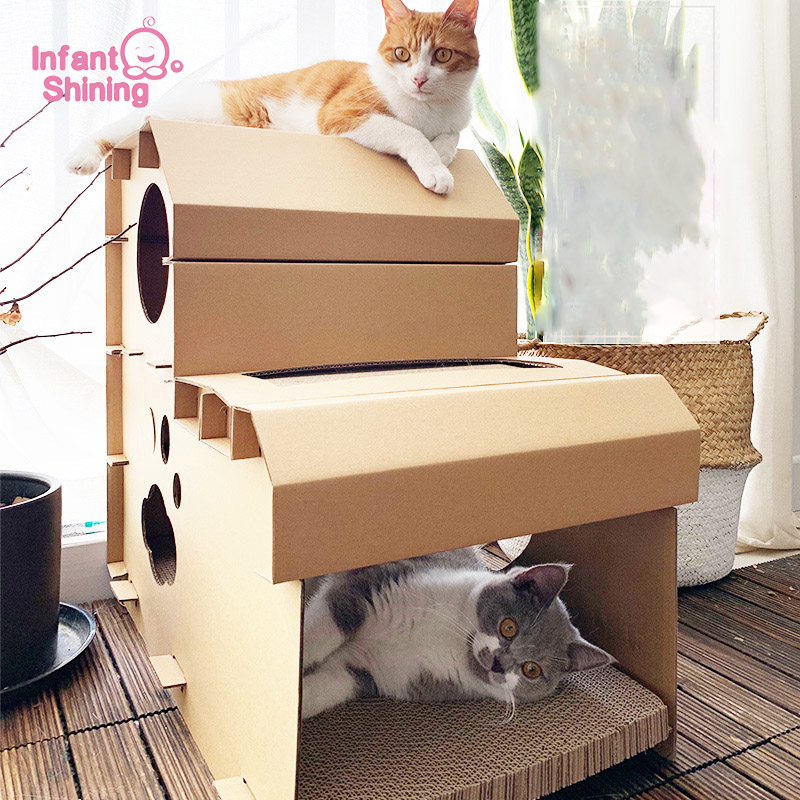 Infant Shining Cat House Cats Bed Mat Scratch Board Corrugated Cardboard Cat's Claw Grinder Box Kitten Beds Cat Bed House Pet