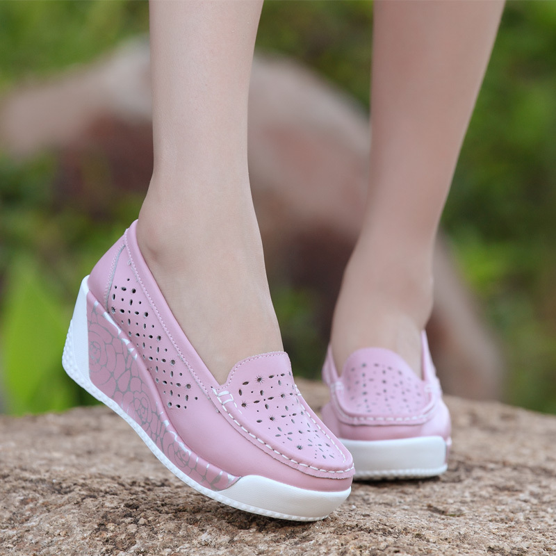 Women s Thick heel Wedeges Shoes Genuine Leather Breathable Nurse High heeled Shoes White Hollow Out