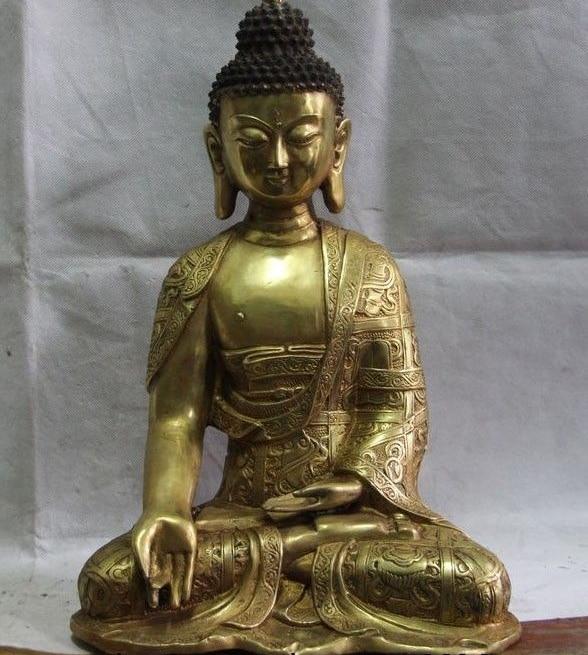 16 Tibet Brass Copper Temple Sakyamuni Amitabha Ru lai Tathagata Buddha Statue statue