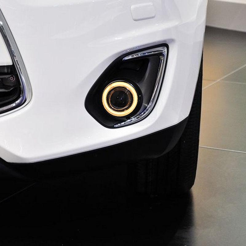 Новый cob Ангел глаз дневные ходовые свет + Галогенные Противотуманные фары объектив проектора для Мицубиси ASX 2013-14, 2 шт