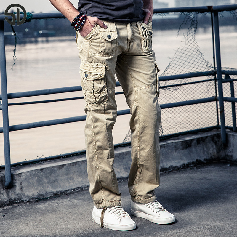 2017 Spring New Arrive Work Pants Multi Pocket Baggy Cargo Hommes Casual Style Moto Hommes Men Long Trousers Cotton Pant