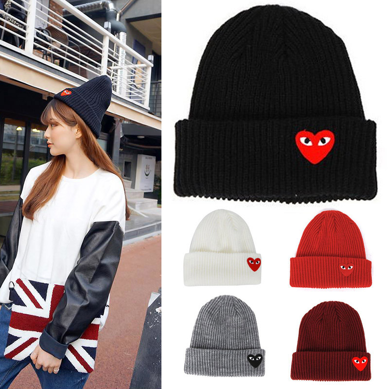 Winter Knitting Warm Hat Heart Pattern Daily Slouchy Hats Beanie Cap Outdoor Skiing Caps New
