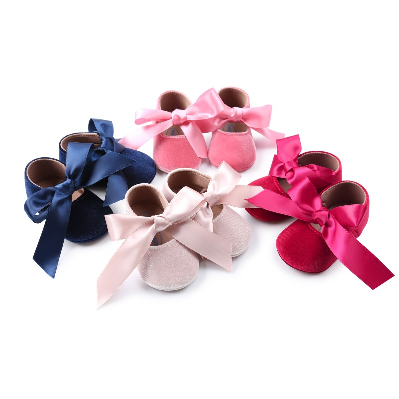 Baby Girls Shoes Bow Princess Shoes Fringe Soft Non-slip Infant Toddler Girl Riband Crib Shoes 0-18M