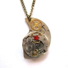 steampunk gothic punk rock watch parts metal gear moon necklace pendant chain charm women men boy vintage diy antique jewelry