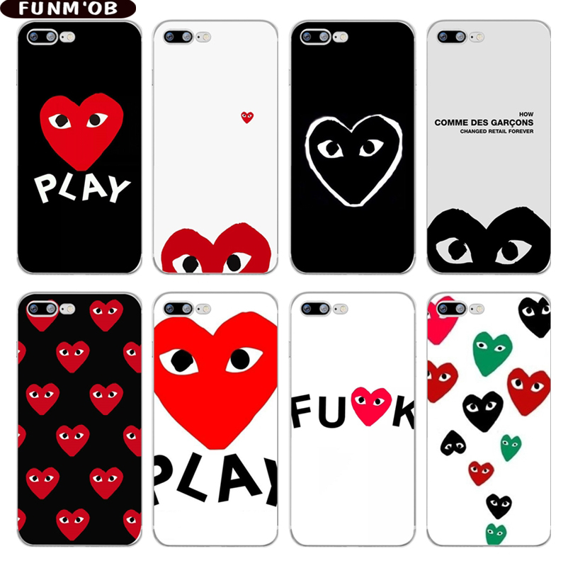 FUNMOB Fashion CDG PLAY Comme des Garcons Play Loving Eyes Soft Silicone TPU Case Cover For iphone 7 8 6 6s plus X 5 5s SE Capa ...