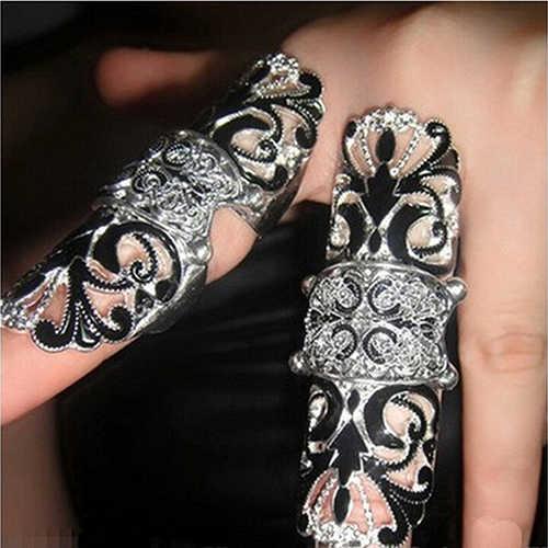 1 ชิ้นแฟชั่นเครื่องประดับของขวัญผู้หญิงแหวนเกราะร่วมข้อนิ้วกลวงออกแหวนผู้หญิงขนาด Approx.17mm/0.67in