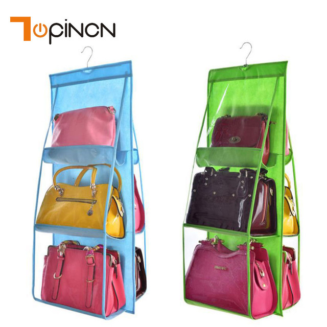 6 Pocket Folding Hanging Handbag Storage Organizer Hanging Sundry Shoe  Storage Bag For Wall Hanging Wardrobe