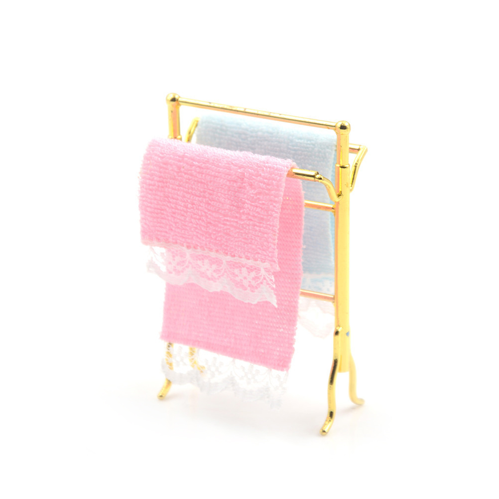 One Set 1/12 Scale 7.6*5*2cm Dollhouse Miniature Bathroom Towels Rack Set for 12th Dollhouse Decoration Accessories