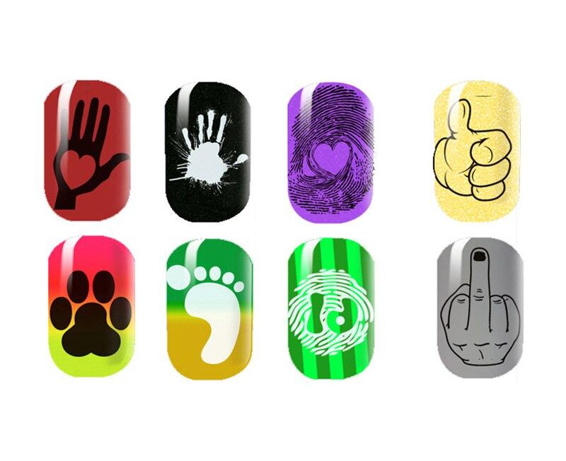 Uñas estampado placas Nail Art plantillas huella digital mano diseño ...