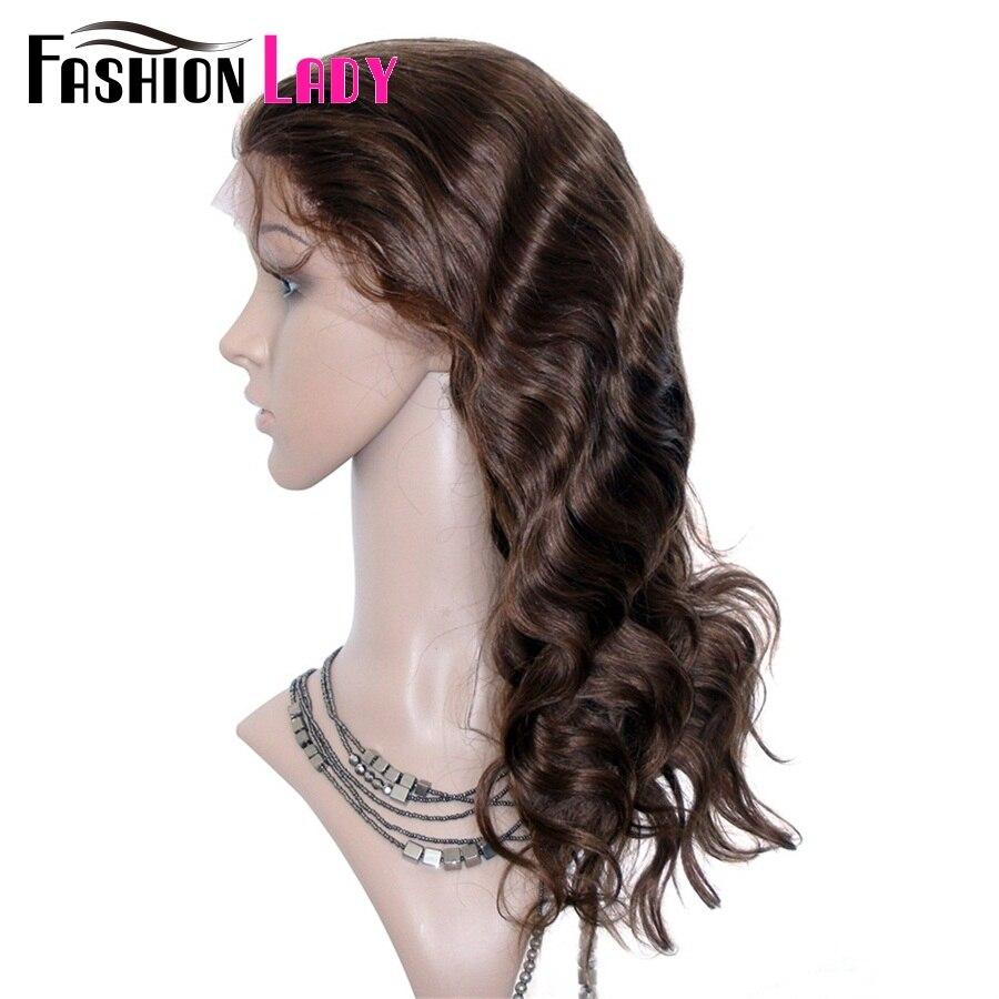 Модные женские бразильские волосы remy 14 дюймов 100% человеческих волос парики 150% плотность тела волна кружева передний парик для женщин - 2