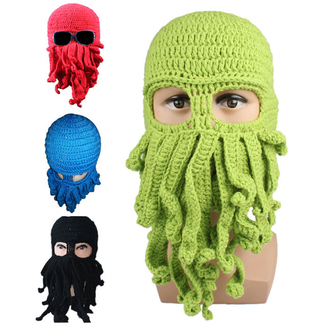Octopus Pattern Beanies Winter Warm Knitted Wool Face Mask Knit Hat