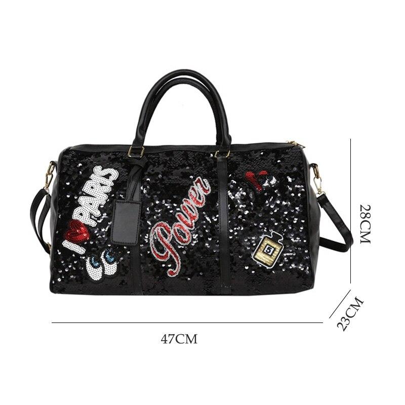 Image 2 - Wobag Fashion Women Travel Bag Casual Sequins Letters Man Shoulder Diagonal Handbag Large Capacity Black/Pink/Silver OutdoorTravel Bags   -