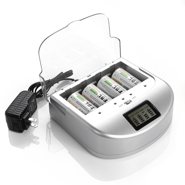 EBL Rechargeable Battery Charger For 9V AAA AA D Li-ion Ni-MH Ni-CD Battery free shipping