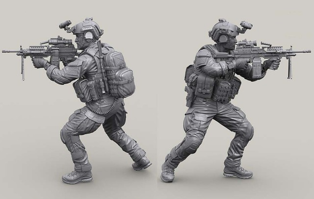 US $37 0  1/16 Scale Modern US Seals Special Forces Miniatures Unpainted  Resin Model Kit Figure Free Shipping-in Model Building Kits from Toys &