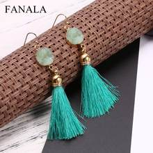 Hook Artificial Drop Jade Tassel Earrings Pierced Women Geometric Casual(China)