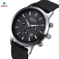 NORTH Men Watch Luxury Brand Fashion Male Wristwatch 30M Waterproof Sport Watch Casual Genuine Leather Quartz