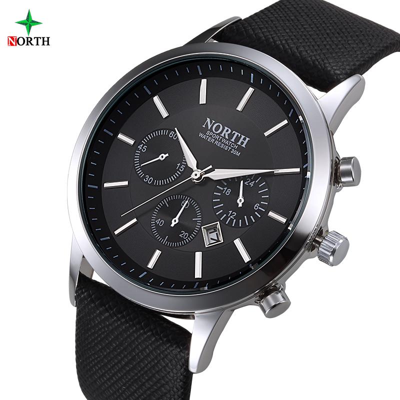 Prix pour North hommes montre de luxe marque de mode homme montre-bracelet 30 m étanche sport montre casual véritable en cuir quartz d'affaires montres