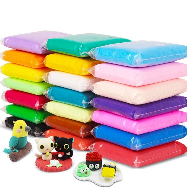 Modelado de Arcilla 24 Colores 100 G/bolsa Suave Fimo Arcilla del Polímero de DIY Juguetes Educativos Para Niños Mullido Limo Oyuncak