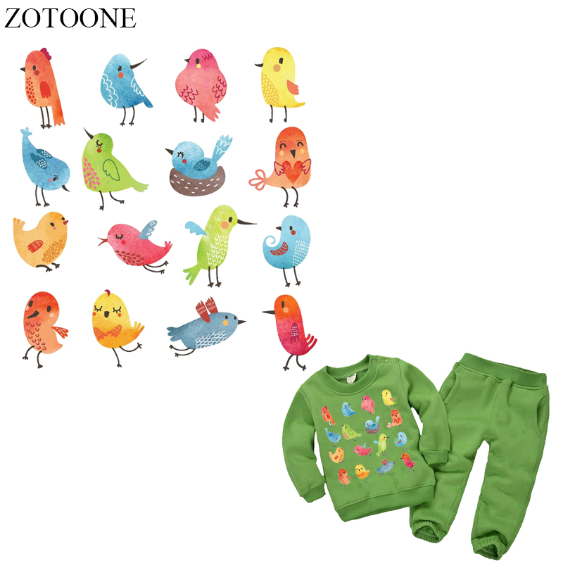 ZOTOONE 16Pcs Cartoon Bird Patch Iron On Transfers For Kids Clothing DIY T-shirt Animal Patches Set Backpacks Heat Press E