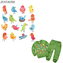 ZOTOONE 16Pcs Cartoon Bird Patch Iron On Transfers For Kids Clothing DIY T-shirt Animal Patches Set Backpacks Heat Press E