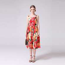 Women Brand new design buttons slip dress 2019 summer runways floral print sweet dress A325 sweet print and cartoon design satchel for women