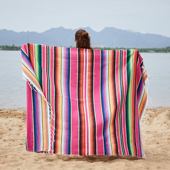 Ethnic Rainbow Striped Beach Towel Bohemia Mexican Navajo Serape Blanket Multifunctional Bathroom Towel/tablecloth/Sofa Towel 1