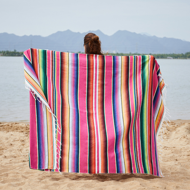 Ethnic Rainbow Striped Beach Towel Bohemia Mexican Navajo Serape Blanket Multifunctional Bathroom Towel/tablecloth/Sofa Towel 1
