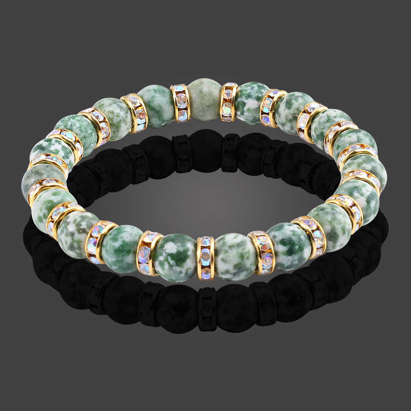 New Fashion Classic Natural Stone Bracelet Crystal Green Bead Bracelets & Bangles Women And Men Stretch Yoga bracelet Jewelry