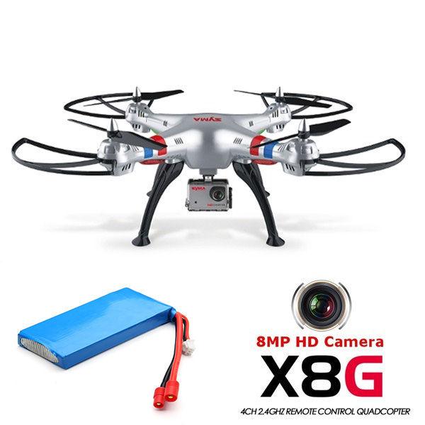 Free Shipping! Syma X8G 2.4G 4CH 8MP HD Camera Headless Mode RC Drone Quadcopter W/ 2 Batteries