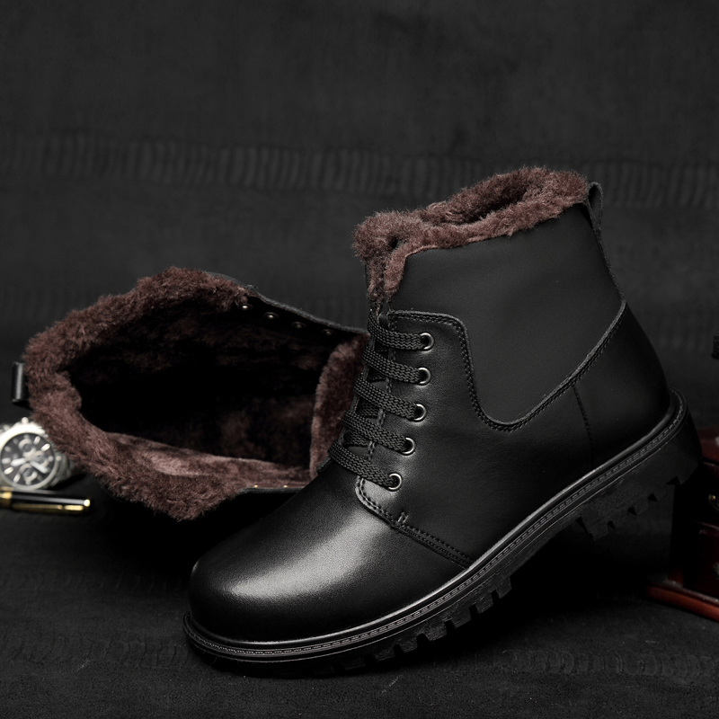 Large size 11 Fashion Genuine Leather Men Ankle Snow men Boots keep warm with fur casual Shoes Mens Winter Fashion Winter boots cimim brand new fashion genuine leather boots men ankle boots casual warm winter snow warm fur boots men shoes plus size 39 50