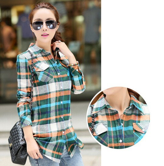 Hot Selling ! Casual Womens Flannel Shirts Full Sleeve Plaid ...