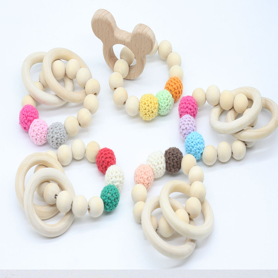 New 1PC Teething Natural Round Wood Bracelet New Baby Mom Kids Wooden Teether Toy
