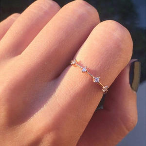 Rose Gold Color Thin Classical Cubic Zirconia Wedding Engagement Ring for Woman Girls Austrian Crystals Gift Rings Bague Femme