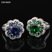 Fashion Noble Jewelry Platinum Plated Brass With White And Green Austrian Crystal Rings For Women S