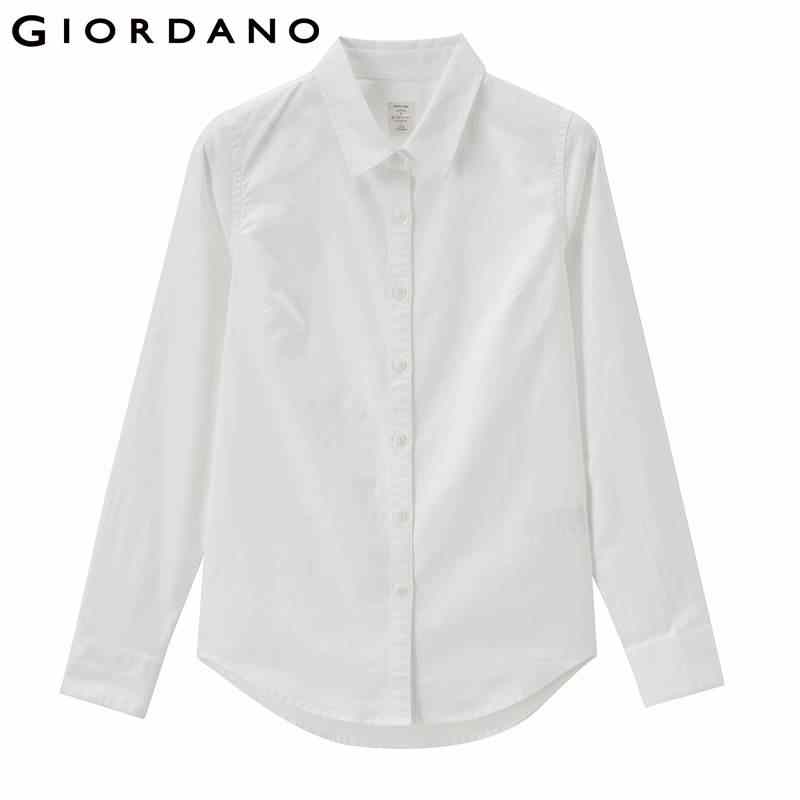 Giordano Women Oxford Blouse Stretchy Casual Women Shirt Pattern Womens Tops And Blouses Button Camisa Feminina Long Sleeves