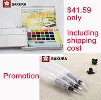 Promotion Sakura 24 colours watercolour paint box and Sakura water brush set of small medium and large size painting brushes