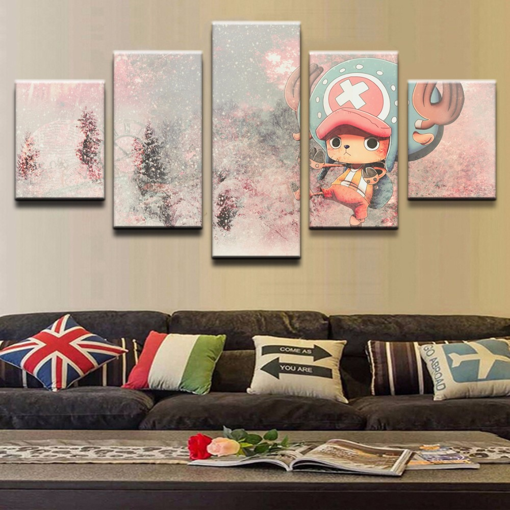 painting living room one piece promotion shop for promotional artwork modern canvas painting animation 5 pieces one piece tony tony chopper poster pictures wall art home decor living room