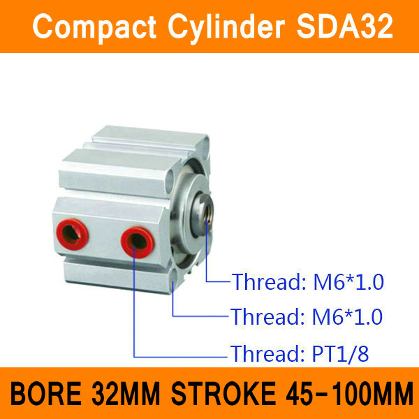 SDA32 Cylinder Compact SDA Series Bore 32mm Stroke 45-100mm Compact Air Cylinders Dual Action Air Pneumatic Cylinders ISO sda100 30 free shipping 100mm bore 30mm stroke compact air cylinders sda100x30 dual action air pneumatic cylinder