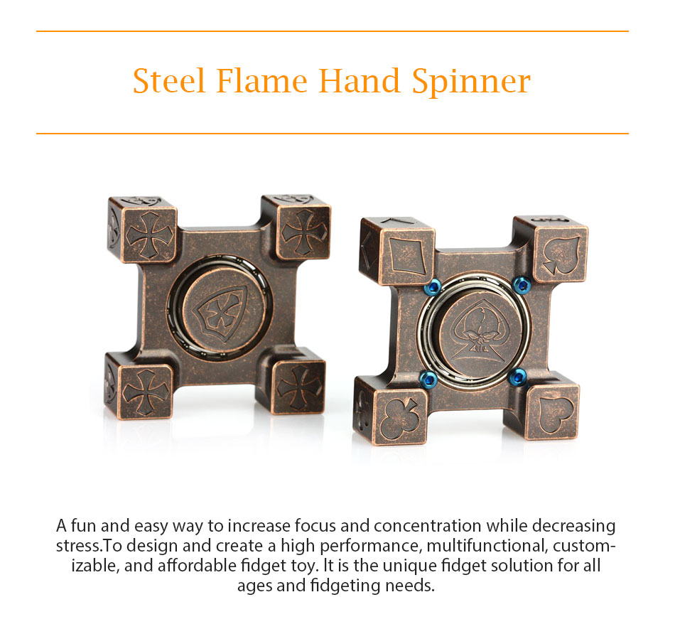 Steel Flame Hand Spinner Spinning Top Brass Fidget Spinner Toys with R188 Steel Bearing Poker & Crusader Types Hand Spinners